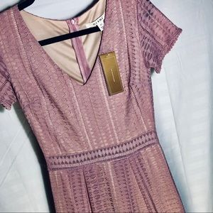 Francesca's Collections Dresses - NWT Nude sheath dress w/ lace detail overlay